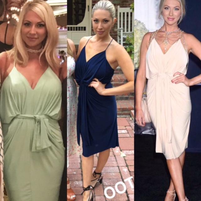 Stassi Schroeder's Navy Blue Draped Dress