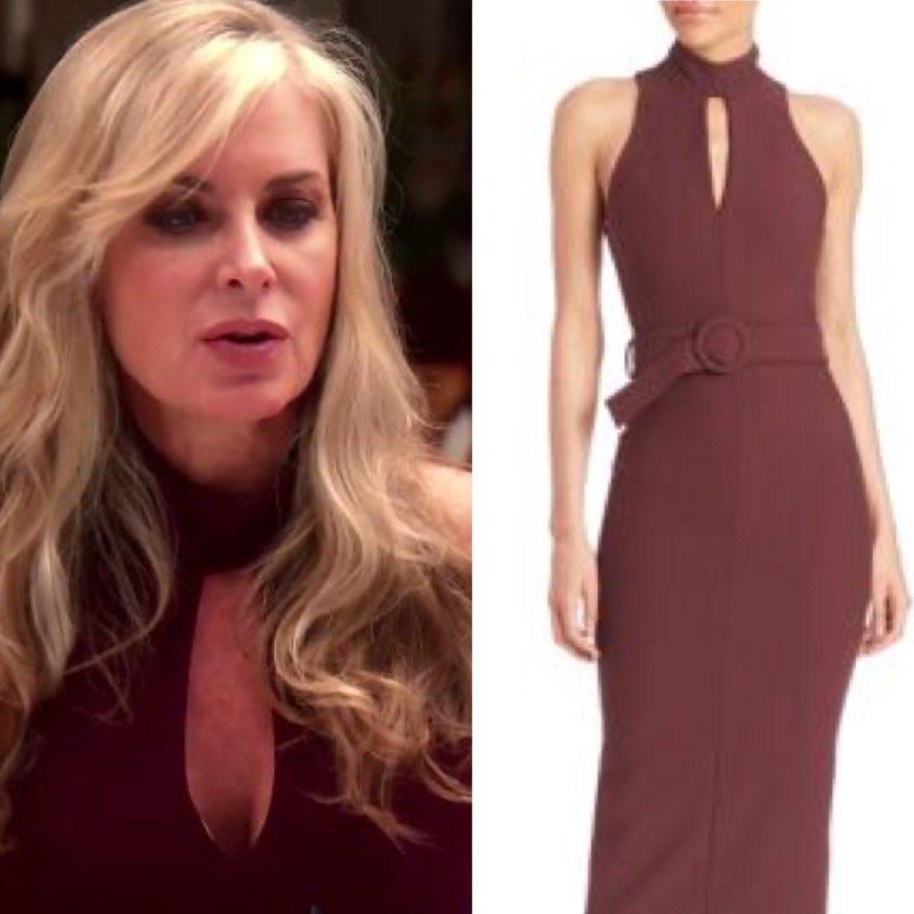Eileen Davidson's Burgundy Keyhole Dress