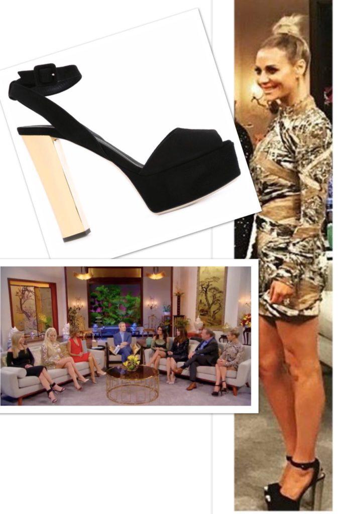 Dorit Kemsley's black and gold heeled platform sandal