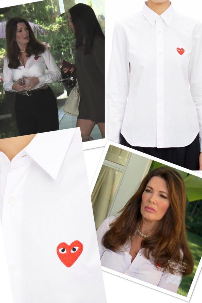 Lisa Vanderpump's White Button Down Shirt with Heart