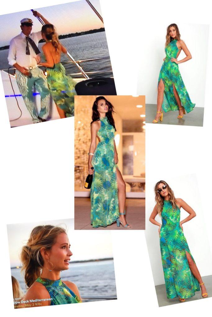 Cameran Eubanks' Green Palm Print Maxi Dress with Halter Neckline