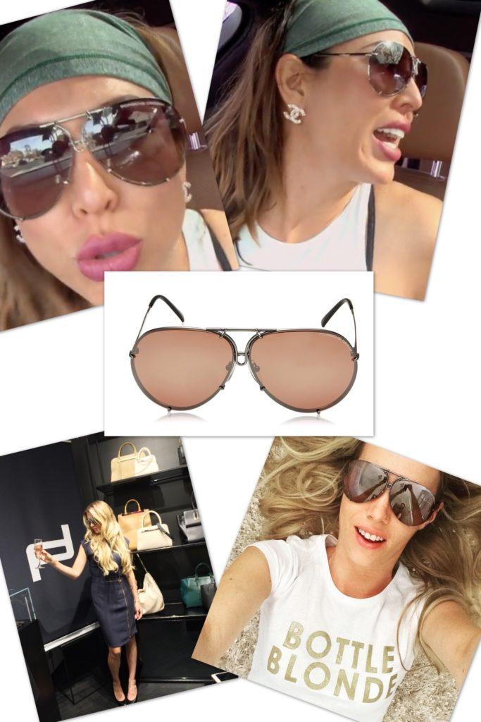 Kelly Dodd wearing oversized Porsche Design 8478 Sunglasses