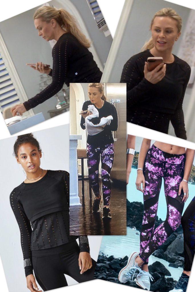 Tamra Judge wearing a black fabletics top and purple printed Fabletics leggings