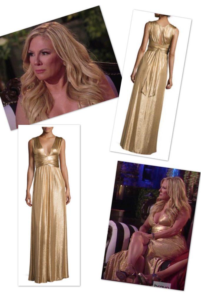 Ramona Singer wearing a gold Halston Heritage gown on the Season 9 Reunion