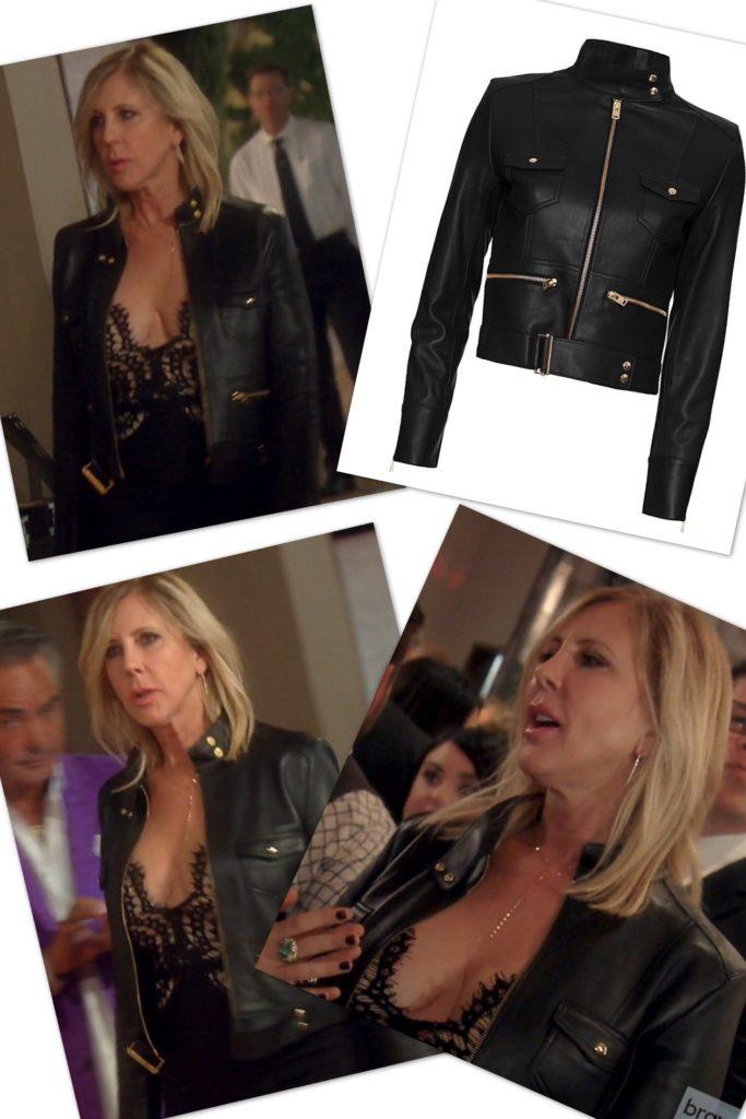 Vicki Gunvalson wearing the IRO Broome leather jacket in black