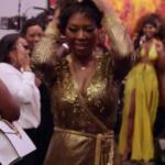 Kenya Moore's Gold Sequin Wrap Maxi Dress