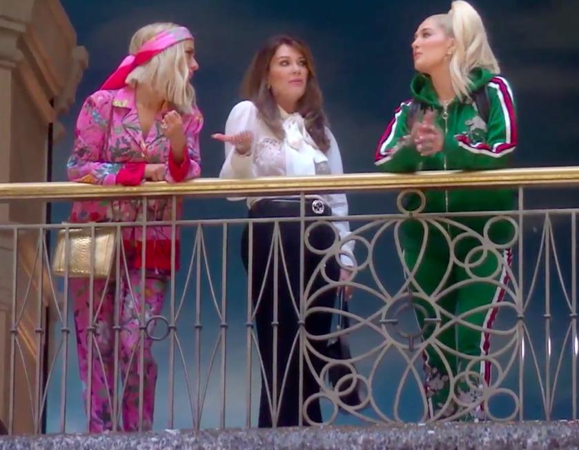 Dorit Kemsley's Pink Printed Silk Pajama Outfit