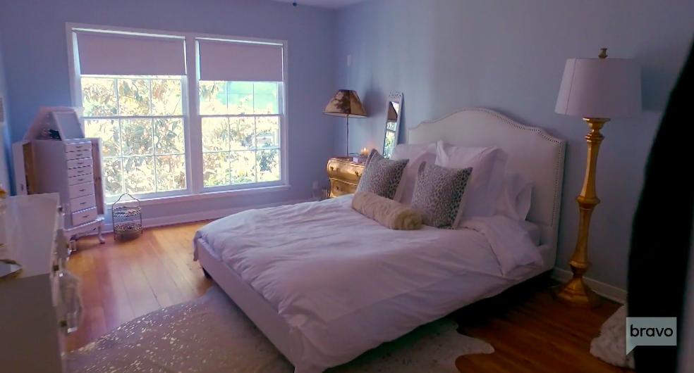 Stassi Schroeder's Metallic Cow Hide Rug in Her Bedroom