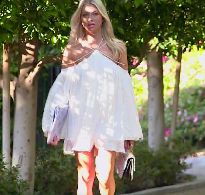 Stassi Schroeder's White Strappy Shoulder Dress