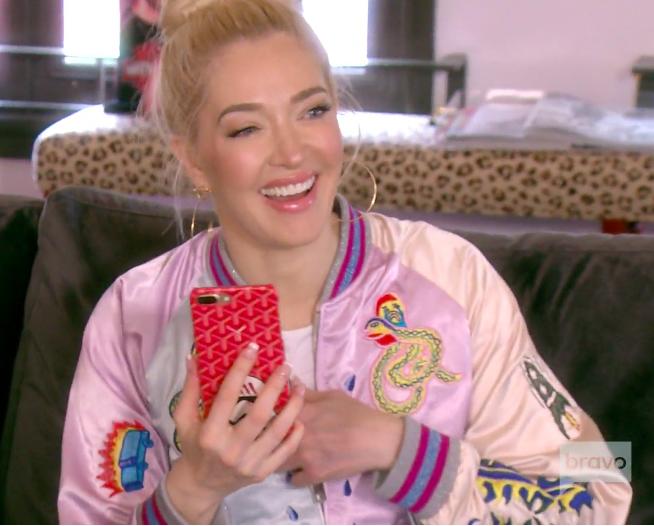 Erika Girardi's Pink Satin Embroidered Bomber Jacket