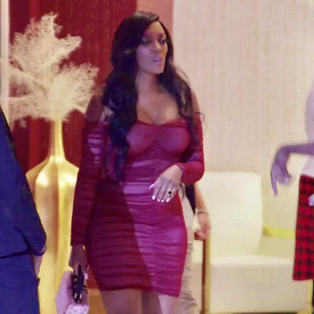 Porsha Williams' Red Ruched Off the Shoulder Dress
