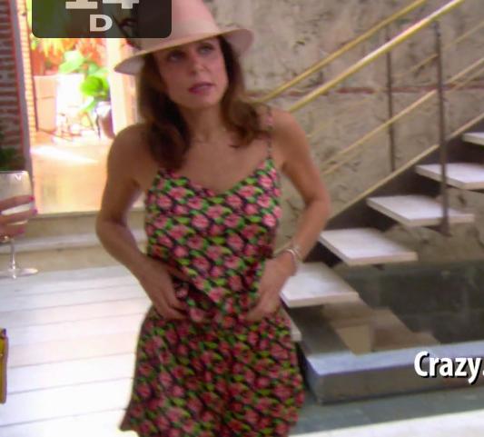 Bethenny Frankel's pink straw hat