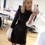 Stassi Schroeder's Black Sequin Dress with White Bell Cuffs