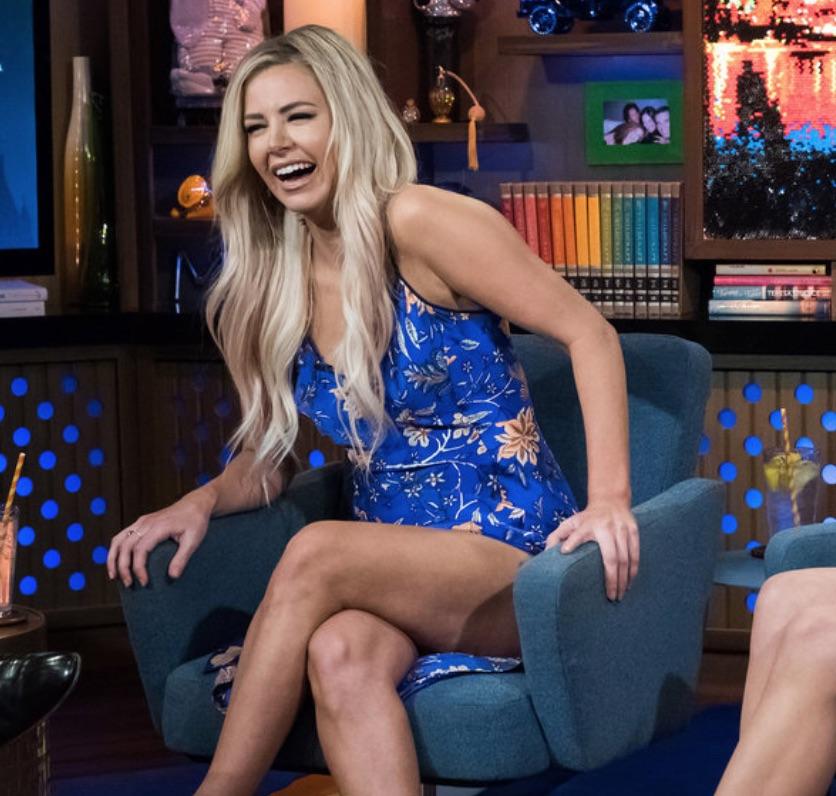 Ariana Madix's Blue Floral Slip Dress on WWHL