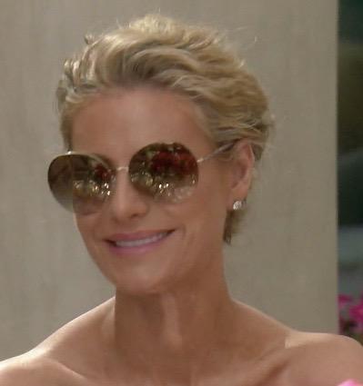 Dorit Kemsley's Round Gold Sunglasses at Lisa's Birthday