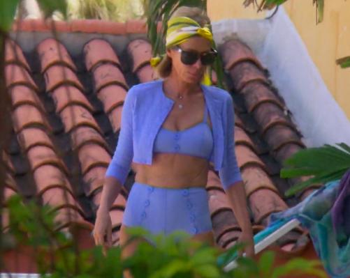 Carole Radziwill's Blue Bikini and Cardigan