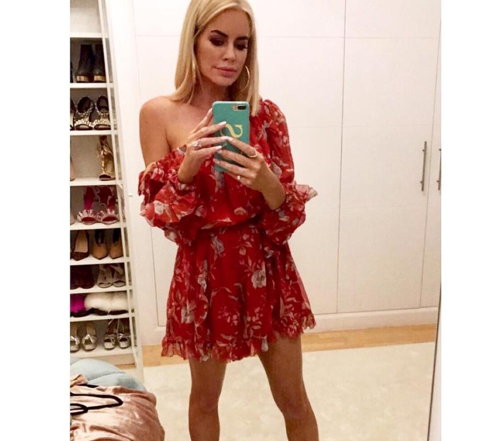 Caroline Stanbury's Red Dress on Instagram
