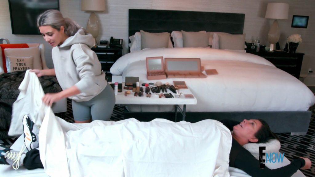 Kris Jenner's Say Your Prayers Pillow As Kim Kardashian Does Her Makeup
