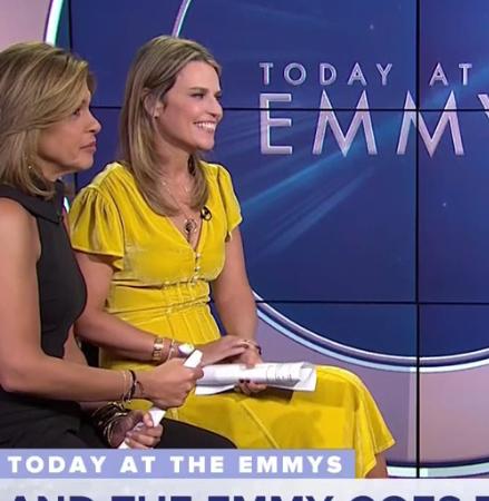 Savannah Guthrie's Yellow Velvet Dress