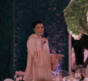 Kris Jenner's Pink Silk Dress at Khloe's Baby Shower