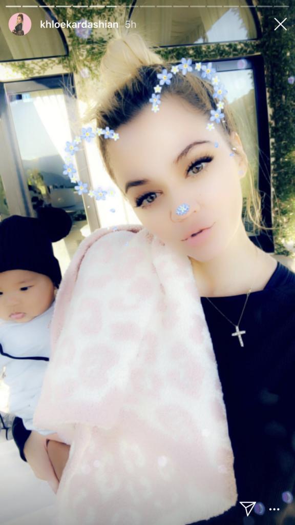 Khloe Kardashian's White and Pink Leopard Baby Blanket on Instagram Stories