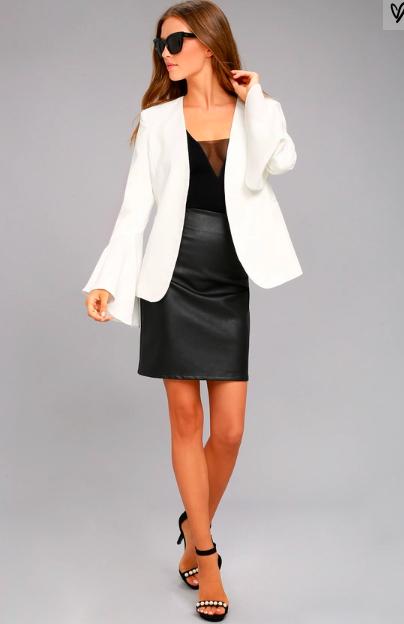 Brandi Redmond White Bell Sleeve Blazer