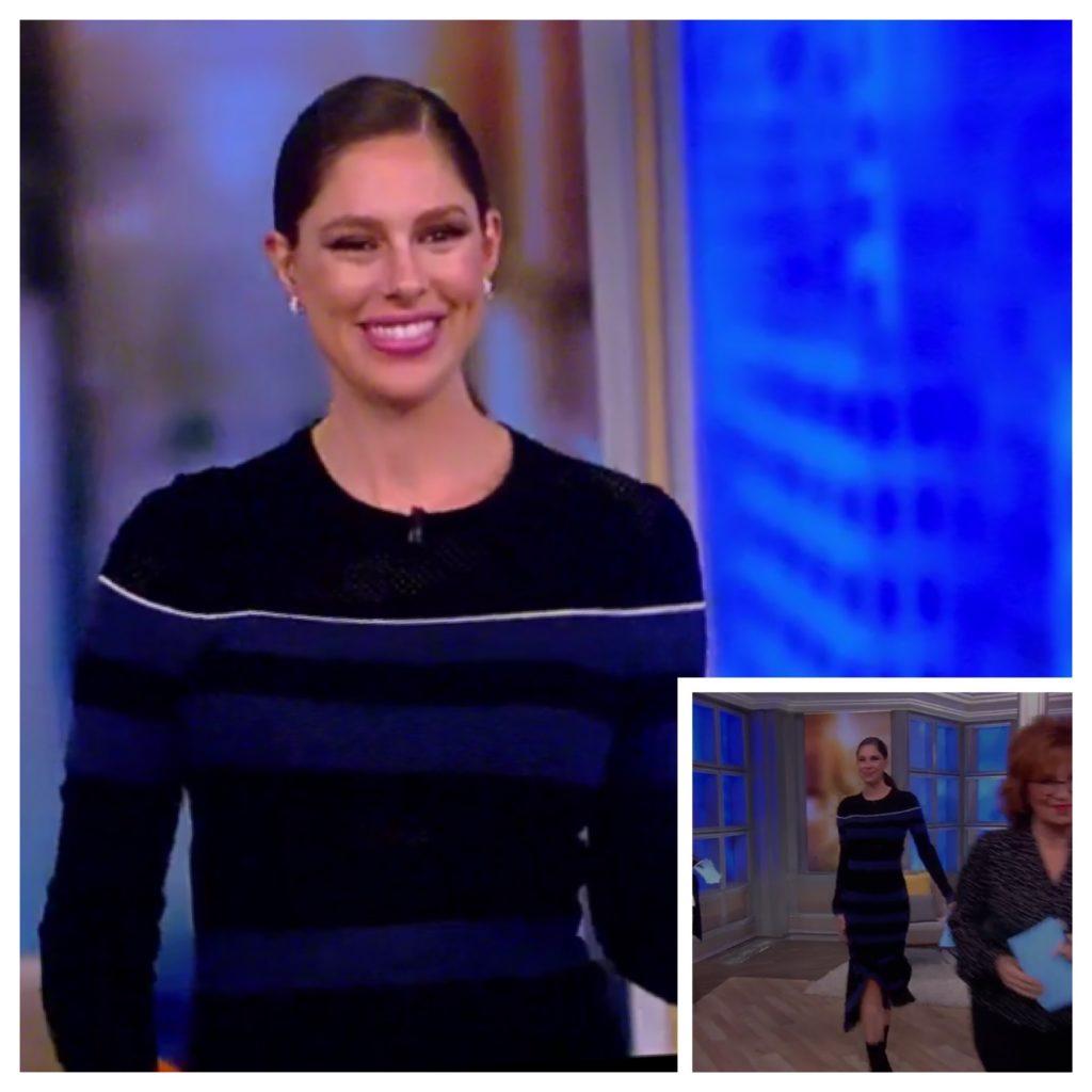 Abby Huntsman's Long Sleeve Asymmetrical Striped Dress