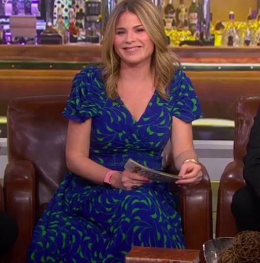 Jenna Bush Hager's Blue and Green Printed Dress