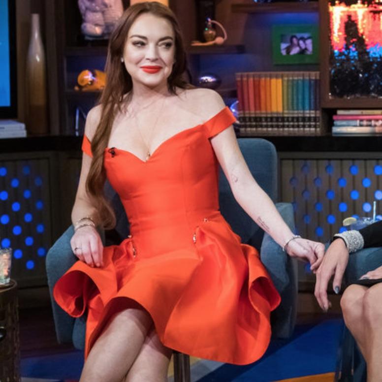 Lindsay Lohan's Red Dress on WWHL