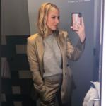 Morgan Stewart's Gold Satin Suit