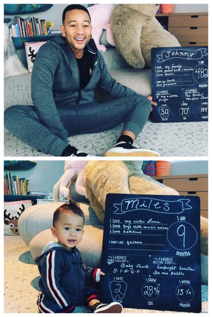 Chrissy Teigen's Baby Monthly Chalkboard Photo Prop On Instagram