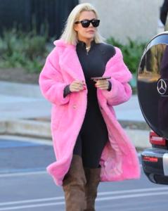 Khloe Kardashian's Pink Teddy Peacoat
