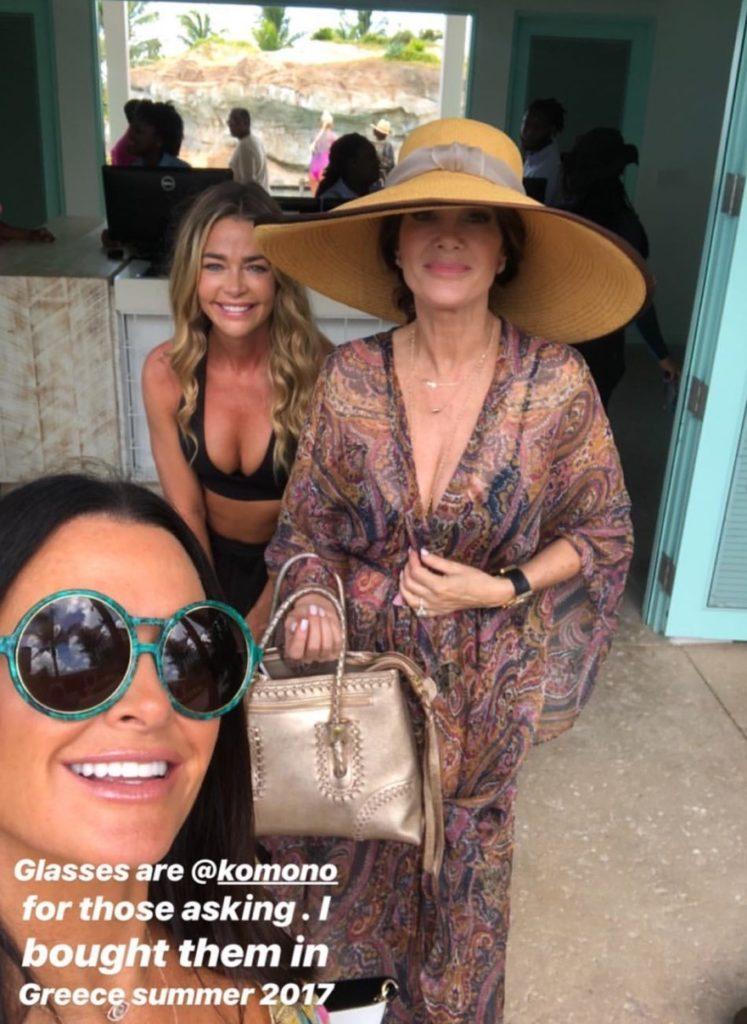 96ec0358a5e Kyle Richards  Green Sunglasses in The Bahamas