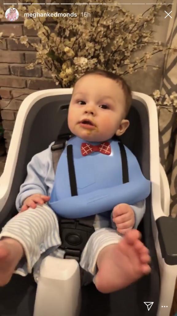 Meghan King Edmonds' Blue Silicone Baby Bow Tie Bib On Instagram