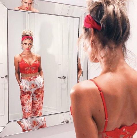 Dorit Kemsley's Red Floral Crop Top