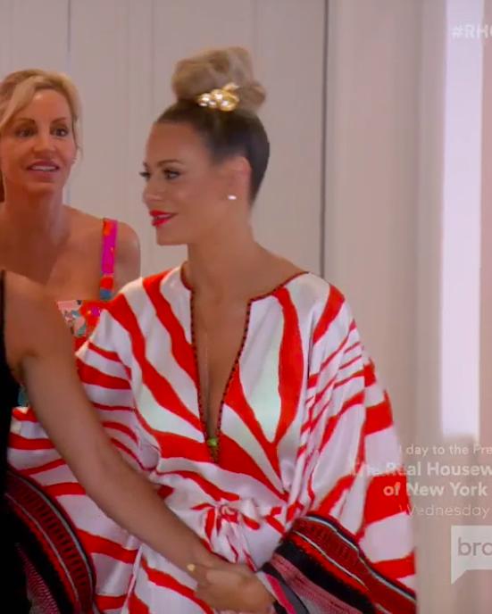 Dorit Kemsley's Red Zebra Print Caftan Dress