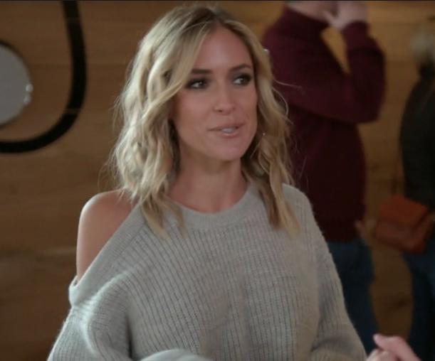 Kristin Cavallari's Grey Asymmetrical Cold Shoulder Sweater