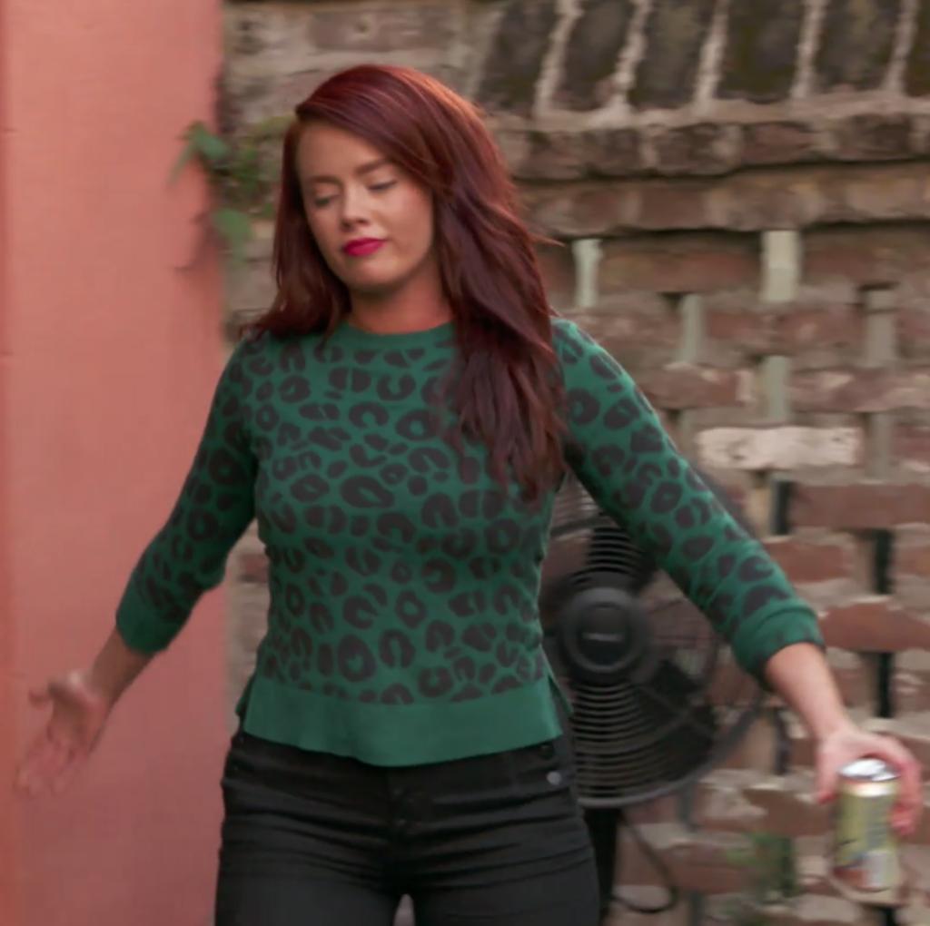 Kathryn Dennis' Green Leopard Sweater