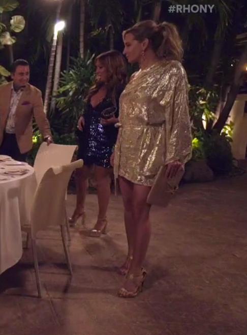 Sonja Morgan's Gold Asymmetrical Dress