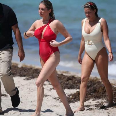 Stassi Schroeder's Red One Shoulder Swimsuit