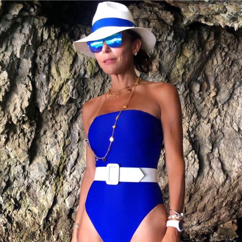 Bethenny Frankels Bllue Belted Bathing Suit