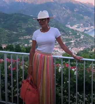 Bethenny Frankel's Striped Maxi Skirt in Italy