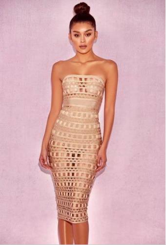 Bethenny Frankel's Tan Cutout Dress