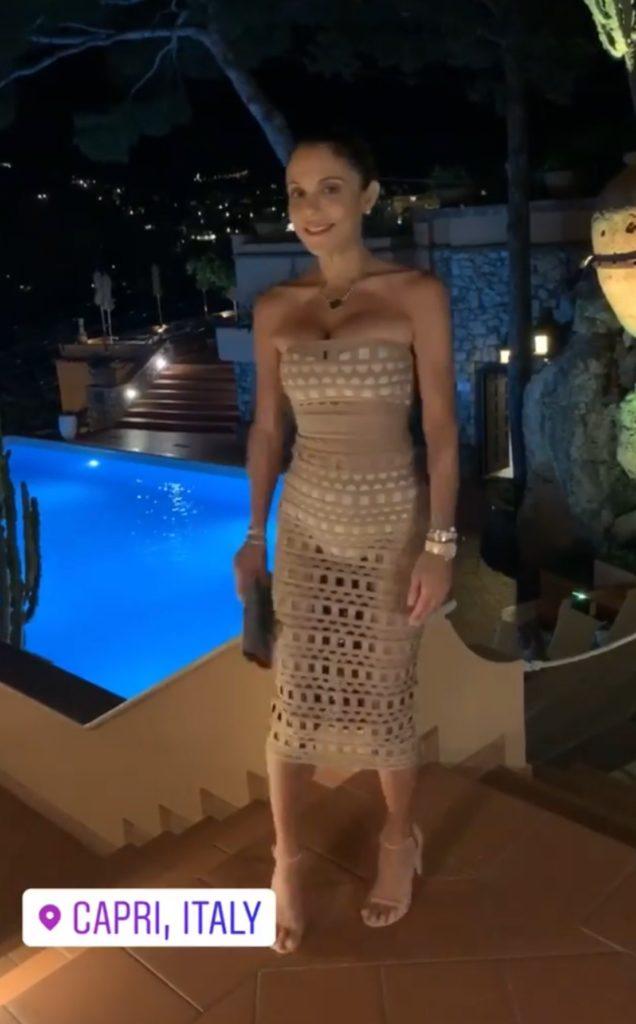 Bethenny Frankel's Tan Cutout Dress in Italy