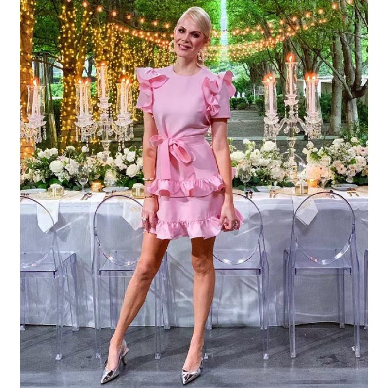 Kameron Westcott's Pink Ruffle Dress