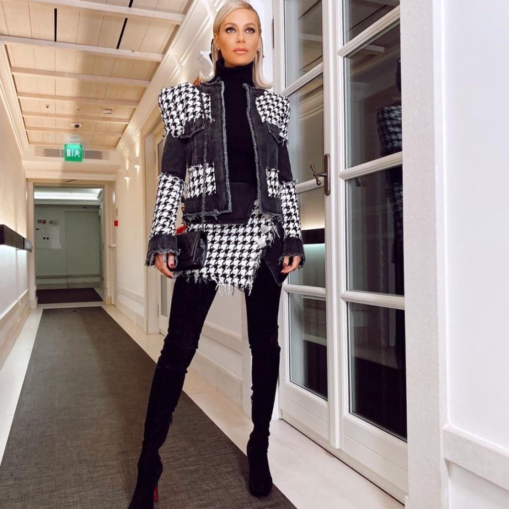Dorit Kemsley's Houndstooth Jacket and Skirt