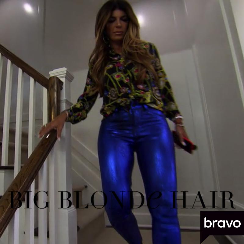Teresa Giudice's Blue Metallic Pants