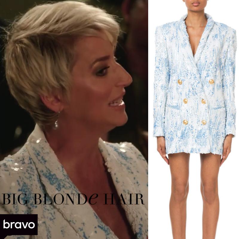 Dorinda Medley's White and Blue Sequin Blazer