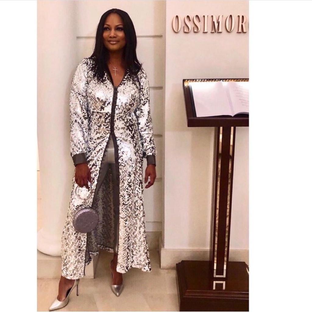 Garcelle Beauvais' Silver Sequin Maxi Dress
