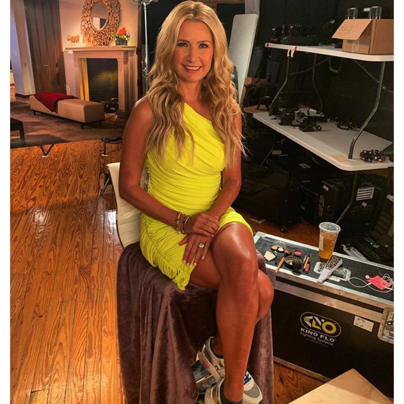 Kary Brittingham's Yellow Ruched Dress